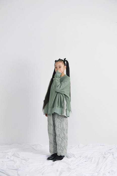 side slit big tee, garden blouse, garden long pants