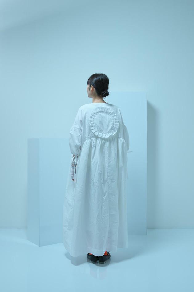 short sleeved long coat, tulle shirring long dress, tulle long sleeved top