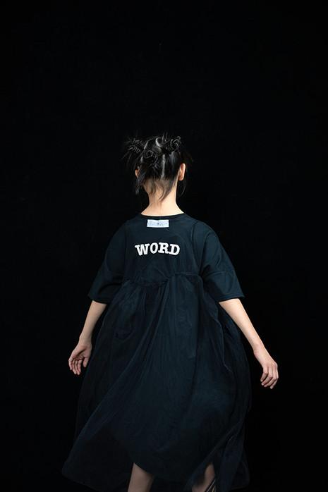 """WORD"" tulle long dress, ◯△ tee dress"
