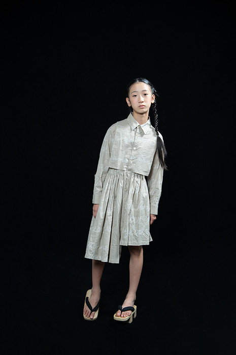 embroidery long blouse, embroydery asymmetry skirt