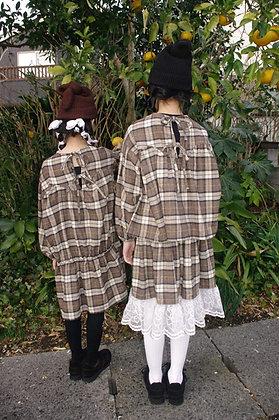 【予約商品】teddybear lace check long skirt