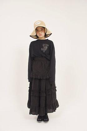 black linen frill long skirt