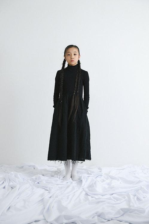 rib high neck long dress
