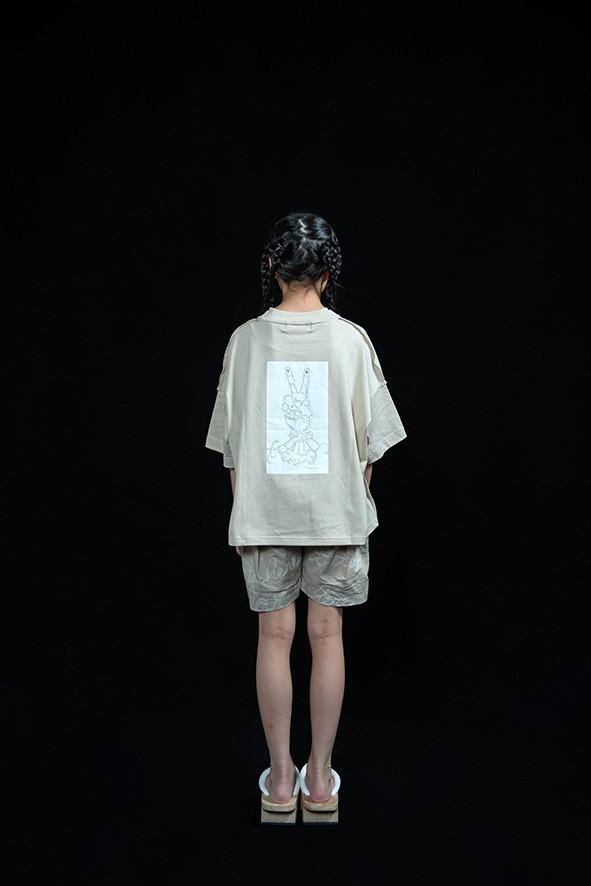 peace rocket tee, embroidery short pants
