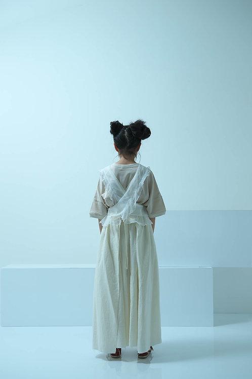 gauze apron long dress