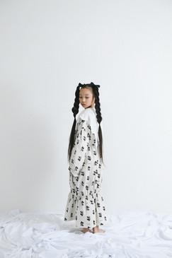teddybear lace blouse, teddybear long dress