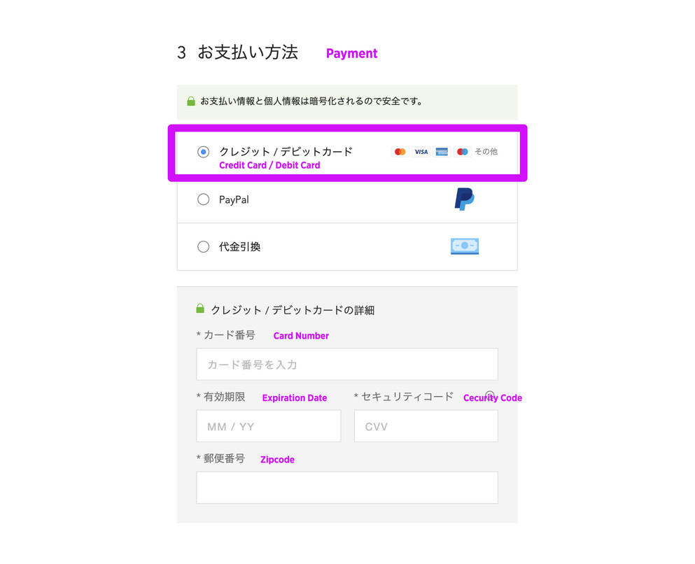Select credit card for payment method and enter your credit card information. Click black box at the bottom and on the next page again, and your order has been placed!