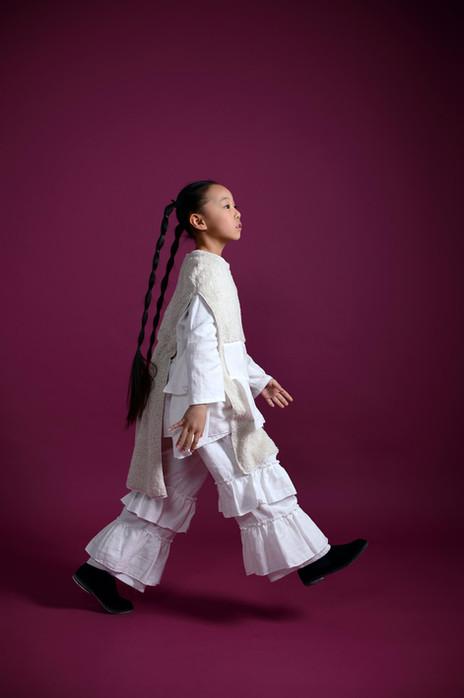 mofu side open dress, gauze frill blouse, gauze frill pants, side gore shoes