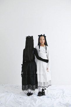 velours tops, teddybear lace long skirt