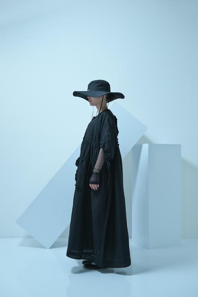 tubahiro, short sleeved long coat, tulle shirring long dress, tulle long sleeved top, double monk strap shoes