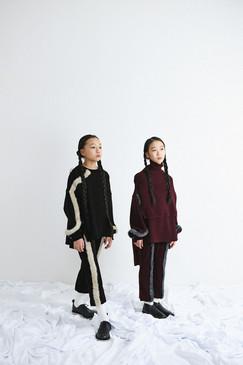 left:knit pullover, knit pants right: knit vest, knit pullover, knit pants