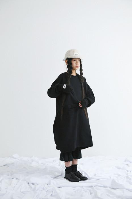 fur cap, arm warmer, ○△ sweat long dress, gauze pants