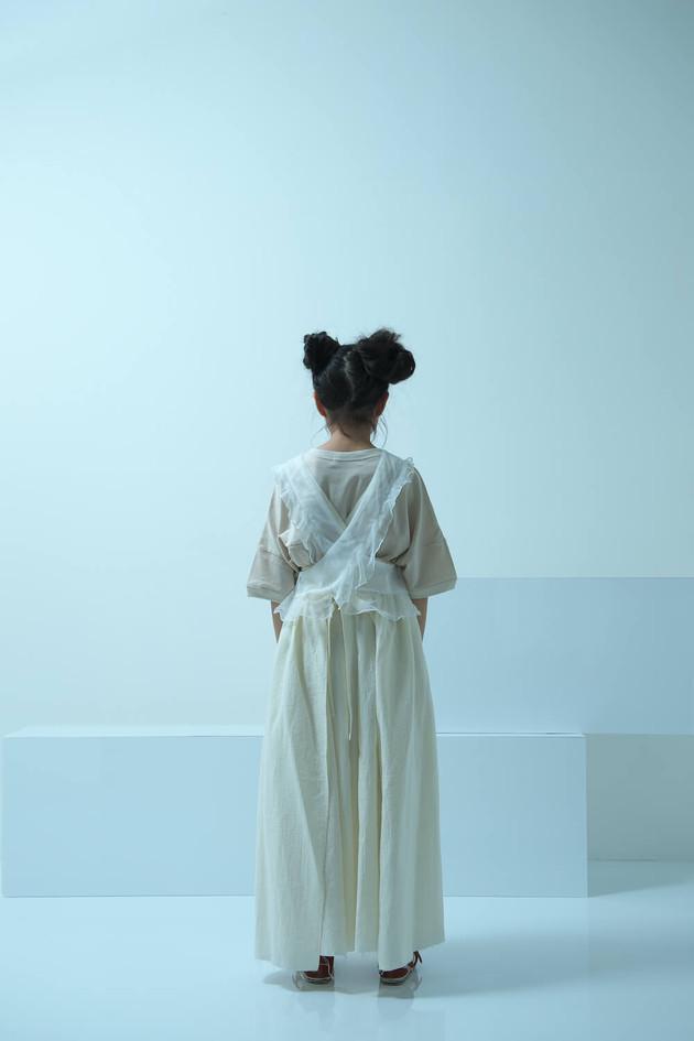 tulle top, ◯△ t-shirt, gauze apron long dress