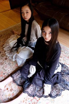 teddybear lace corduroy long skirt