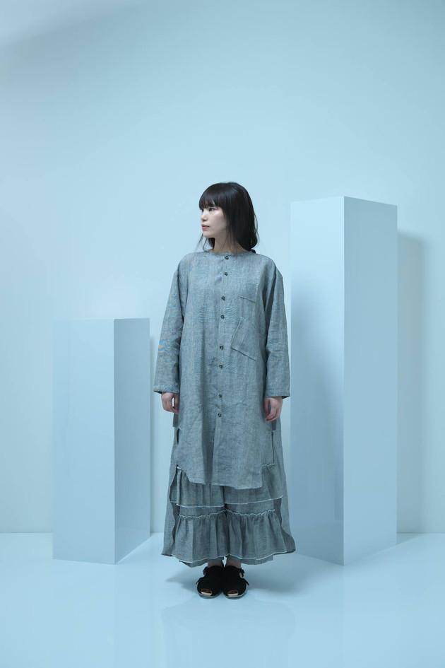 linen long shirt, linen frill long pants, double monk strap shoes