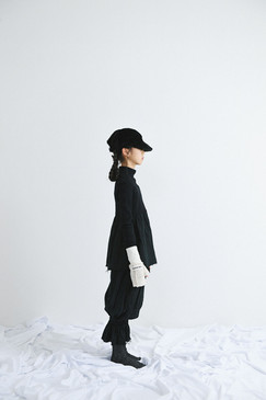 fur cap, arm warmer, rib high neck tops, gauze pants