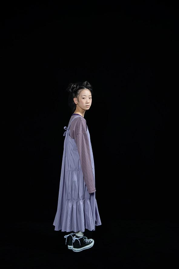 shirring dress, bordered long sleeved tee
