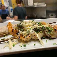 Chimichurri shrimp skewer