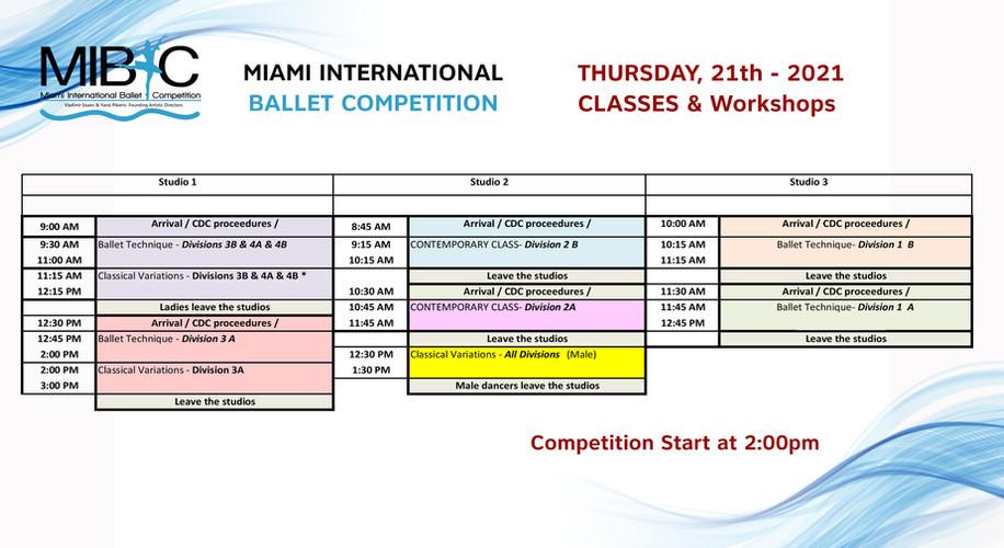 2021 MIBCThurs 01/21/21 classes schedule.