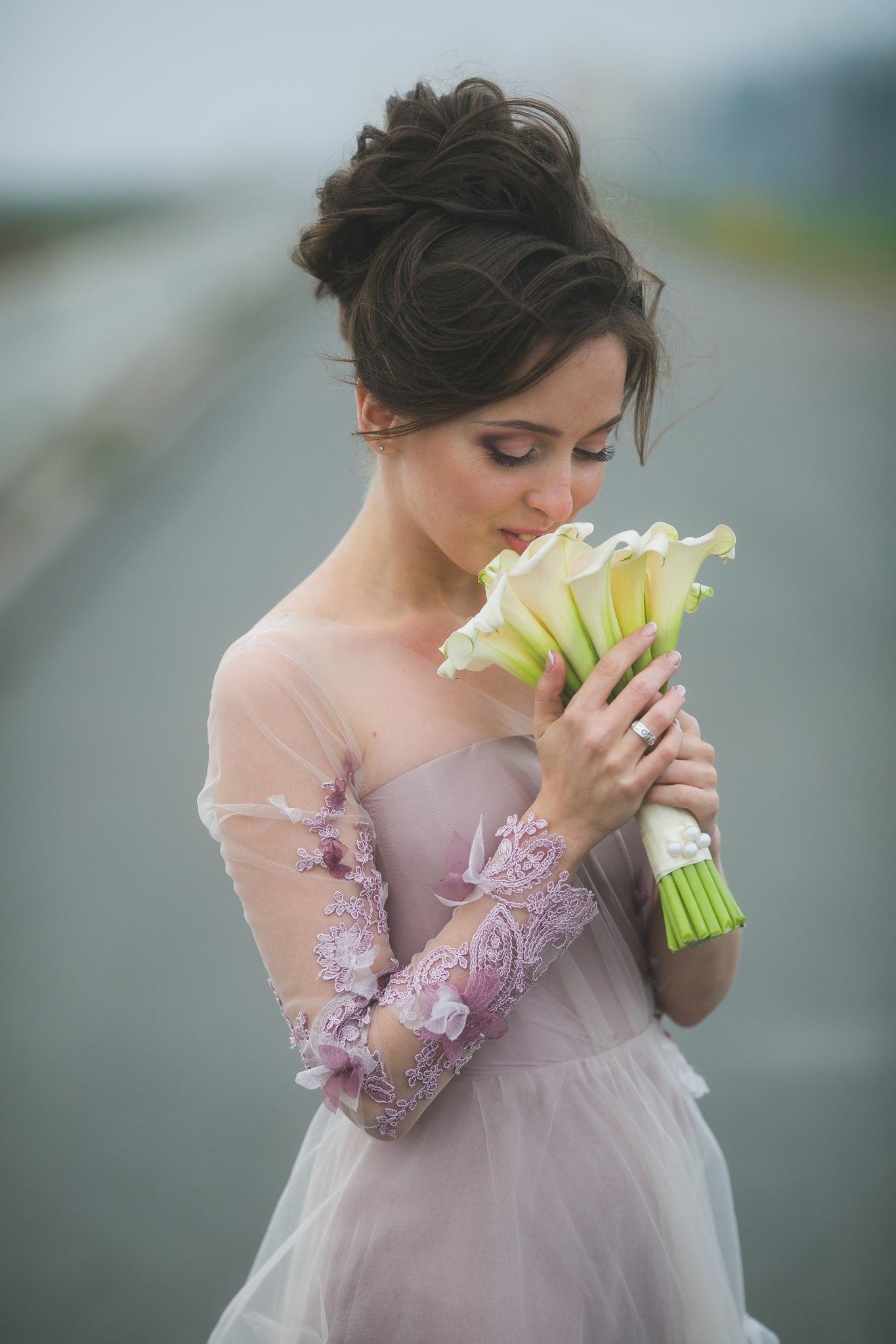 Олеся розовое свадебное платье