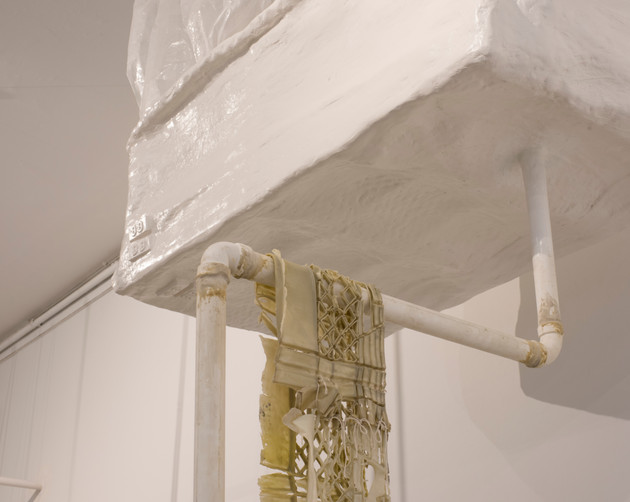 """""""Above ground"""" detail  plaster, latex paint, polyurethane rubber, wood, garbage bags"""