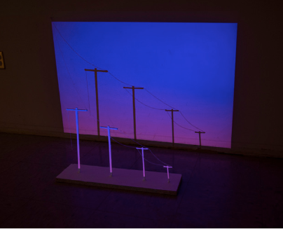 """""""Cast Shadows"""": Wood, string, projected images"""