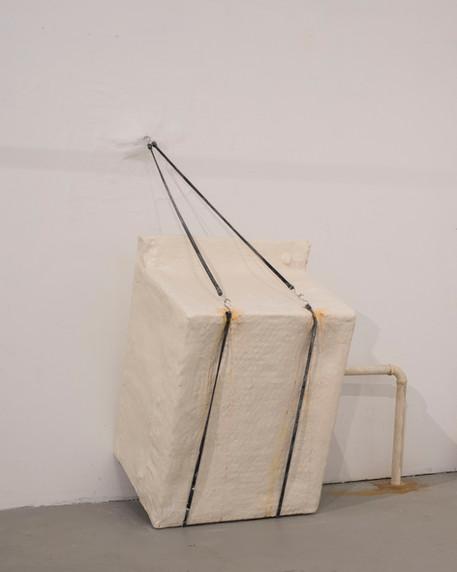"""washing machine"" : Plaster, burlap, plaster casts, bungee cords, rust"
