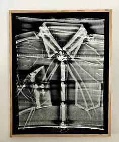 """""""Untitled (workshirt screenprint)"""": Plastisol screenprint on fabric, wood 23""""x18""""x.75"""""""
