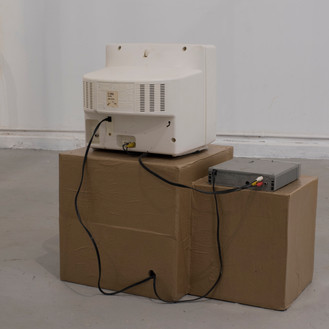 """""""Holding hands"""": Wood, butcher paper, analog television, 2 minute video loop"""