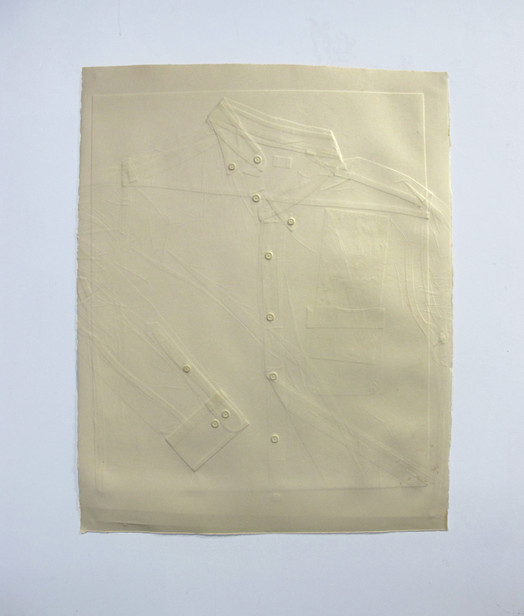 """""""Untitled (workshirt)"""": Embossed paper 26.5"""" x 22.5"""""""