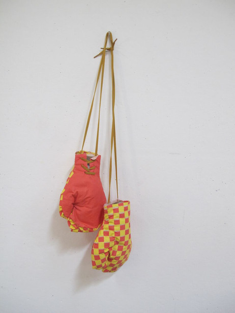 """""""Untitled (gloves)"""": Shoelace, screenprinted fabric"""