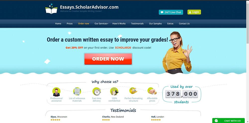 An example of essays.scholar.advisor.com's modern website