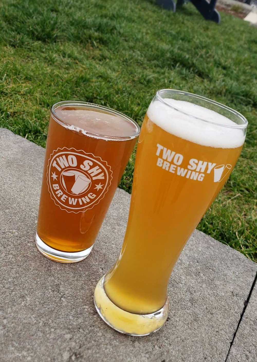 Two delicious Two Shy Beers ready to serve!