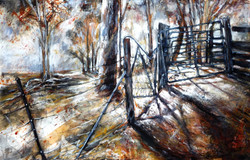 Into the Cattle yards - Mixed Media
