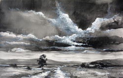 Thunderheads - Ink and oil stick