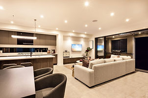 Luxury house interior with living room a