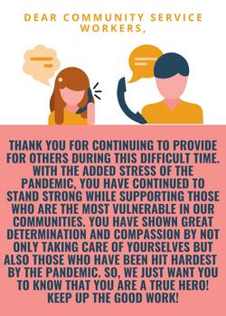 Poster, Sarina Sandhu: Community service workers.