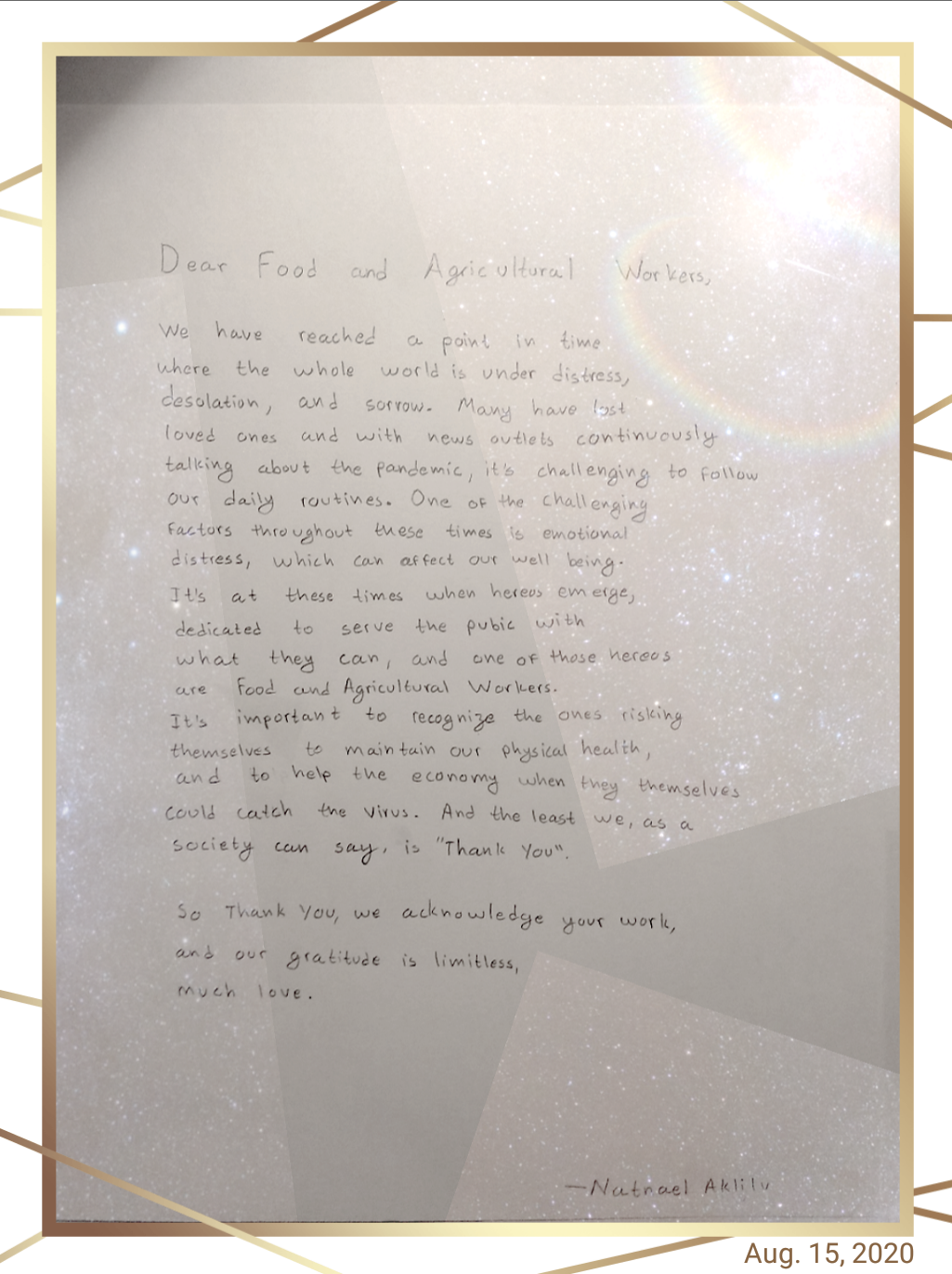 Written Letter, Natnael Aklilu