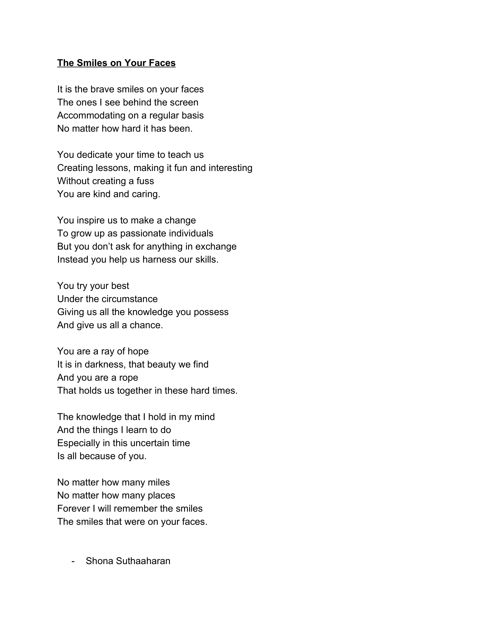 Poem, Shona Suthaaharan
