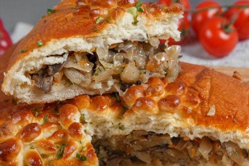 Пирог с курицей, капустой и грибами