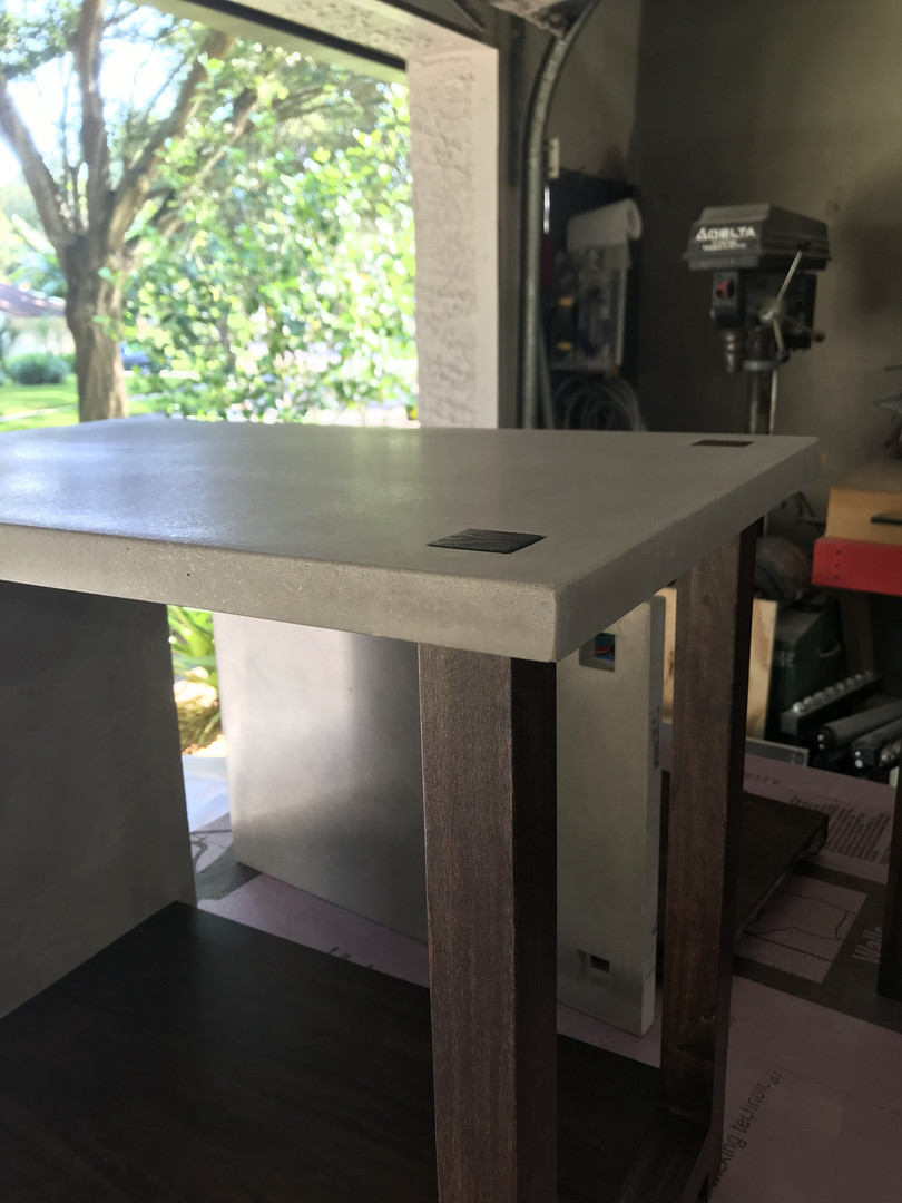 Concrete & Wood Nightstand Assembled - Detail Shot