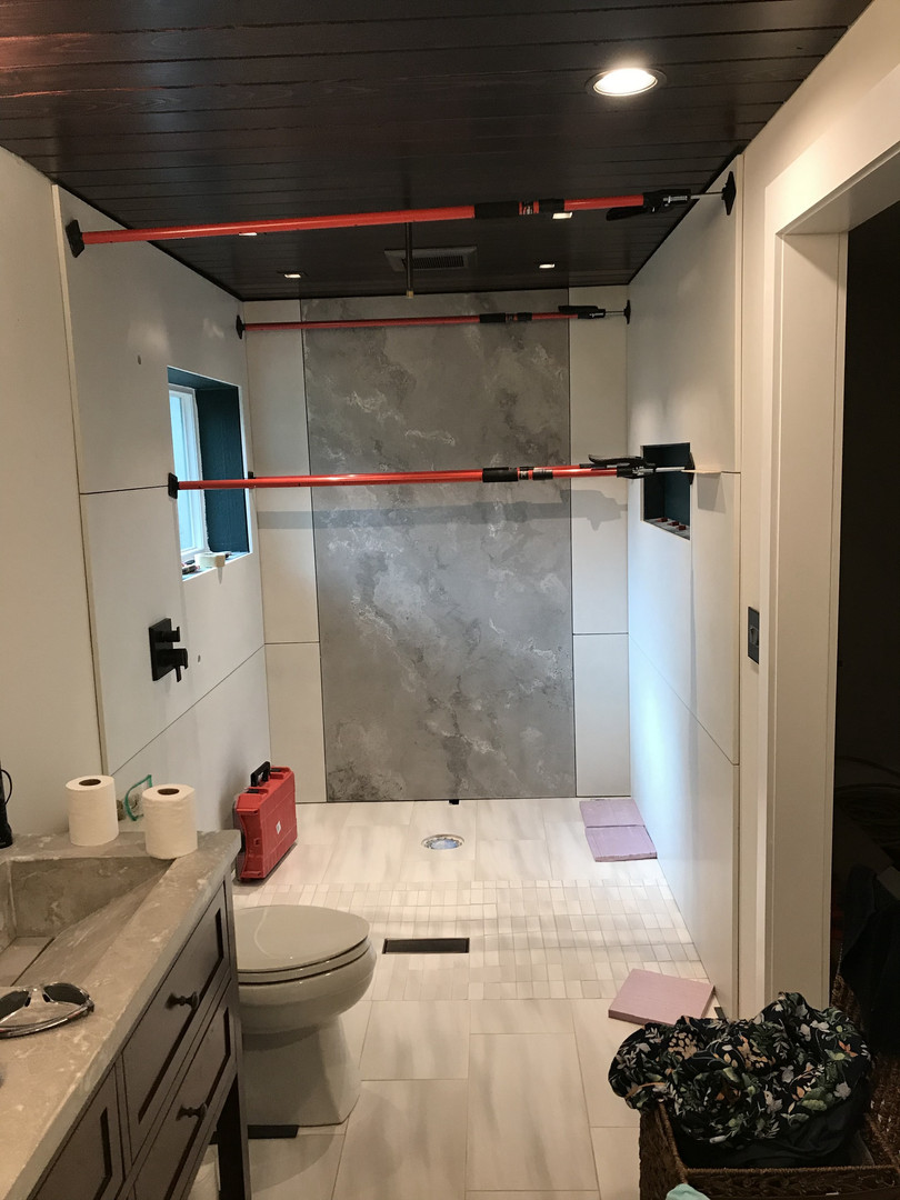 Top Concrete Wall Panels Installed In Master Bathroom Wet Room