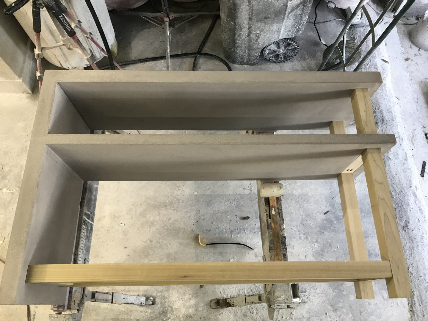 Wood & Concrete Sections of Wall Table Test Fit