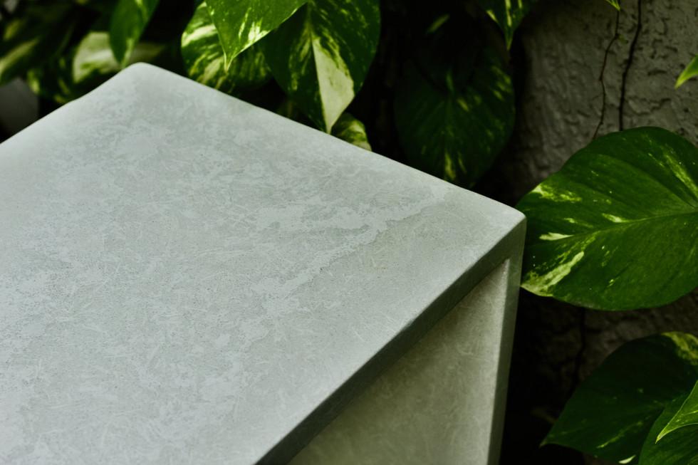 White Concrete Sofa Table With Waterfall Legs - Detail Shot