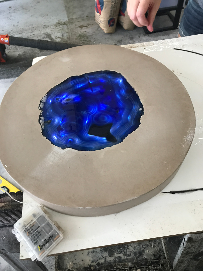 Freshly Demolded Concrete Reading Table Top With Backlit Geode Test
