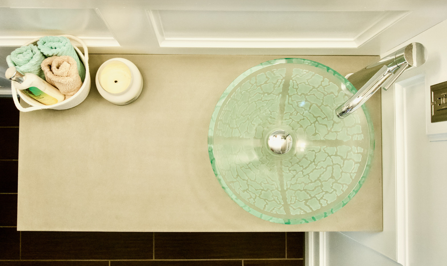Beach Themed Bathroom With Concrete Vanity Top - Top View
