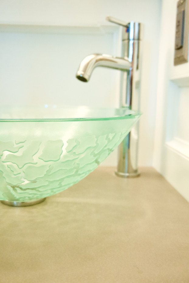Concrete Vanity Top With Glass Vessel Bowl