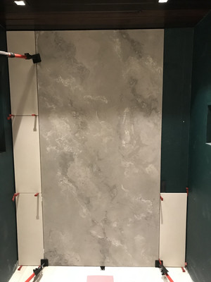 Accent Wall Of Concrete Wall Panels In A Bathroom Wet Room