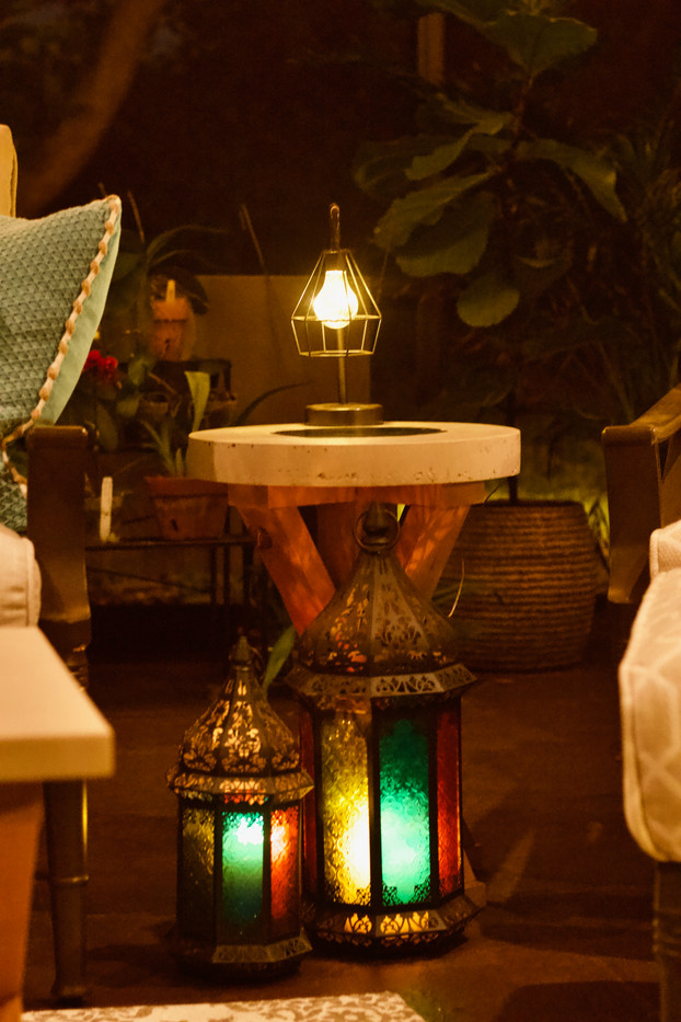 Covered Lanai Area With Concrete End Table/Reading Table - Night