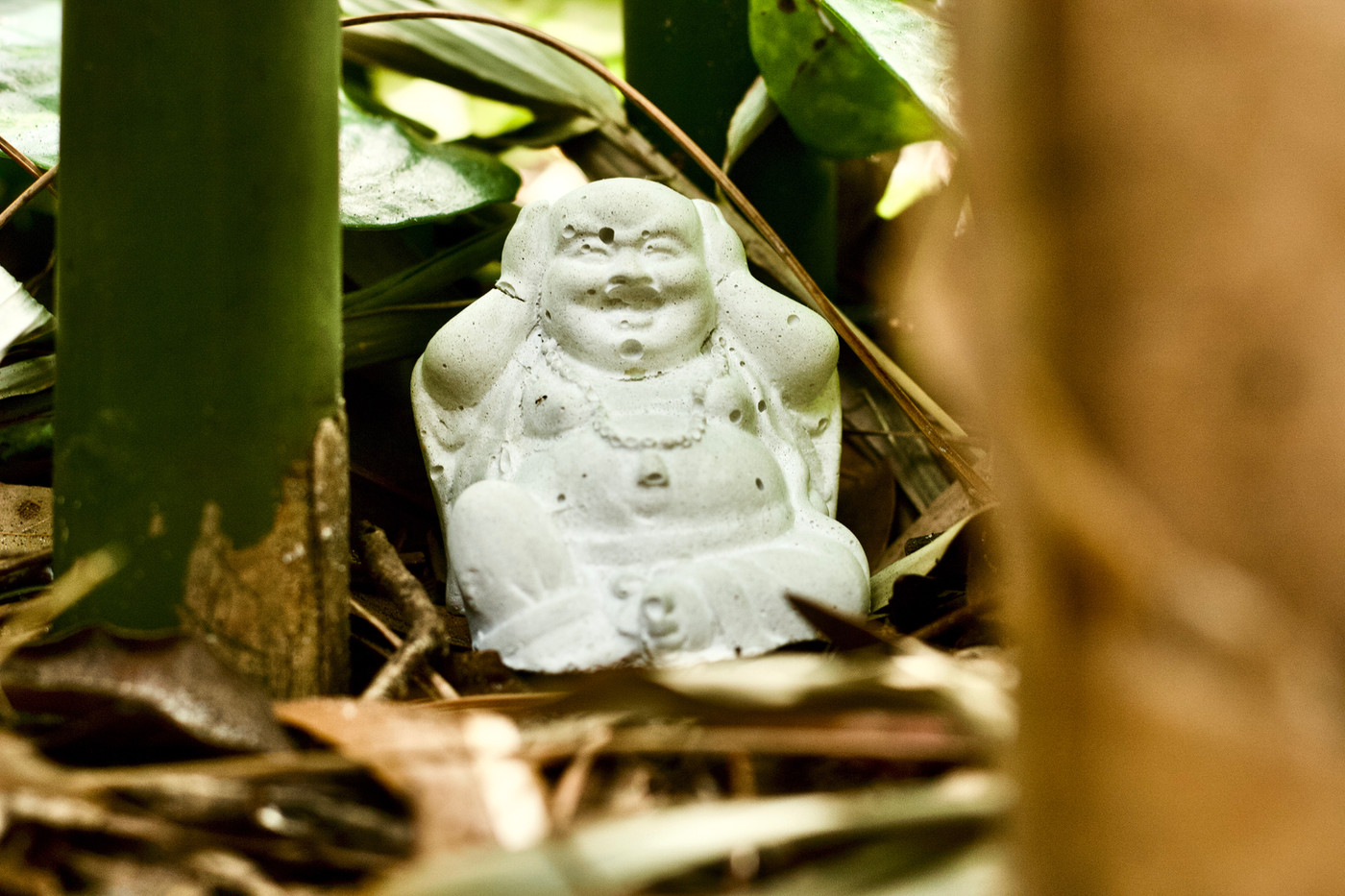 "Concrete Decor ""Hear No Evil"" Buddha"